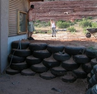 old car tyre retaining wall