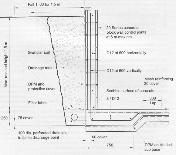 Reinforced Concrete Wall Design Example even though a plain concrete wall often calculates as adequate the designer may elect to add a nominal amount of reinforcement for crack control or other Cocrete Block Retaining Wall Design