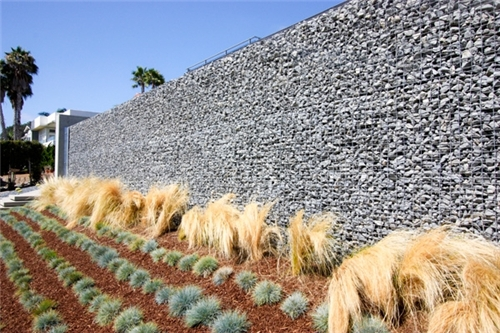 Tall gabion acoustic wall with good noise and sound reduction