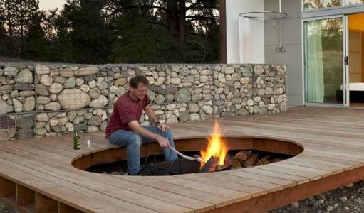 outdoor stone fire pit. Stone Gabion Fire Pit Outdoor