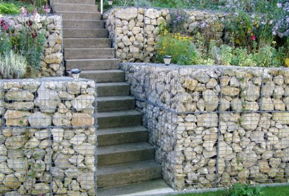 Gabion Retaining Wall Stepped Garden UK