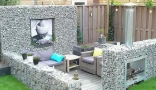 gabion outdoor fireplace seating