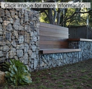 gabion reetainin wall with timber seat