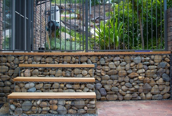 gabion steps with timber treads