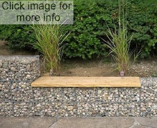 gabion wooden bench seat