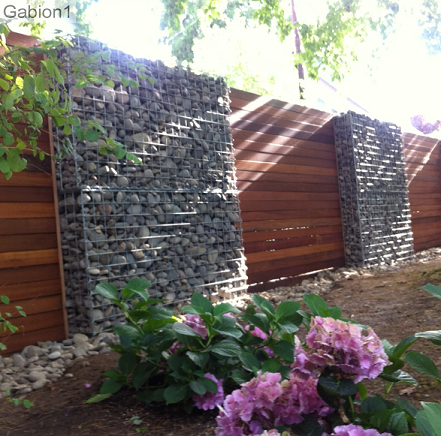 gabion fence with timber inserts