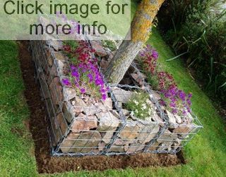 gabion planter around tree