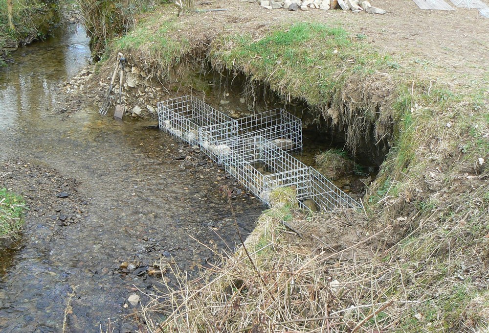 gabions in river being filled