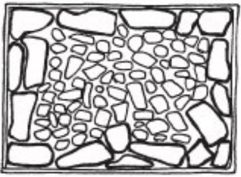 use cheap rock inside the gabion