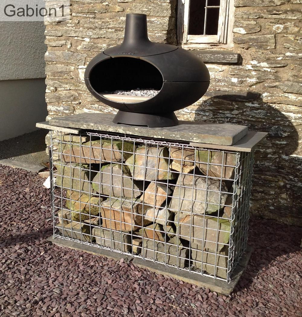 outdoor fire box on gabion