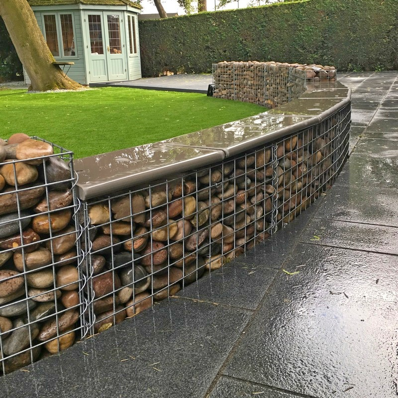 capped curved gabion wall
