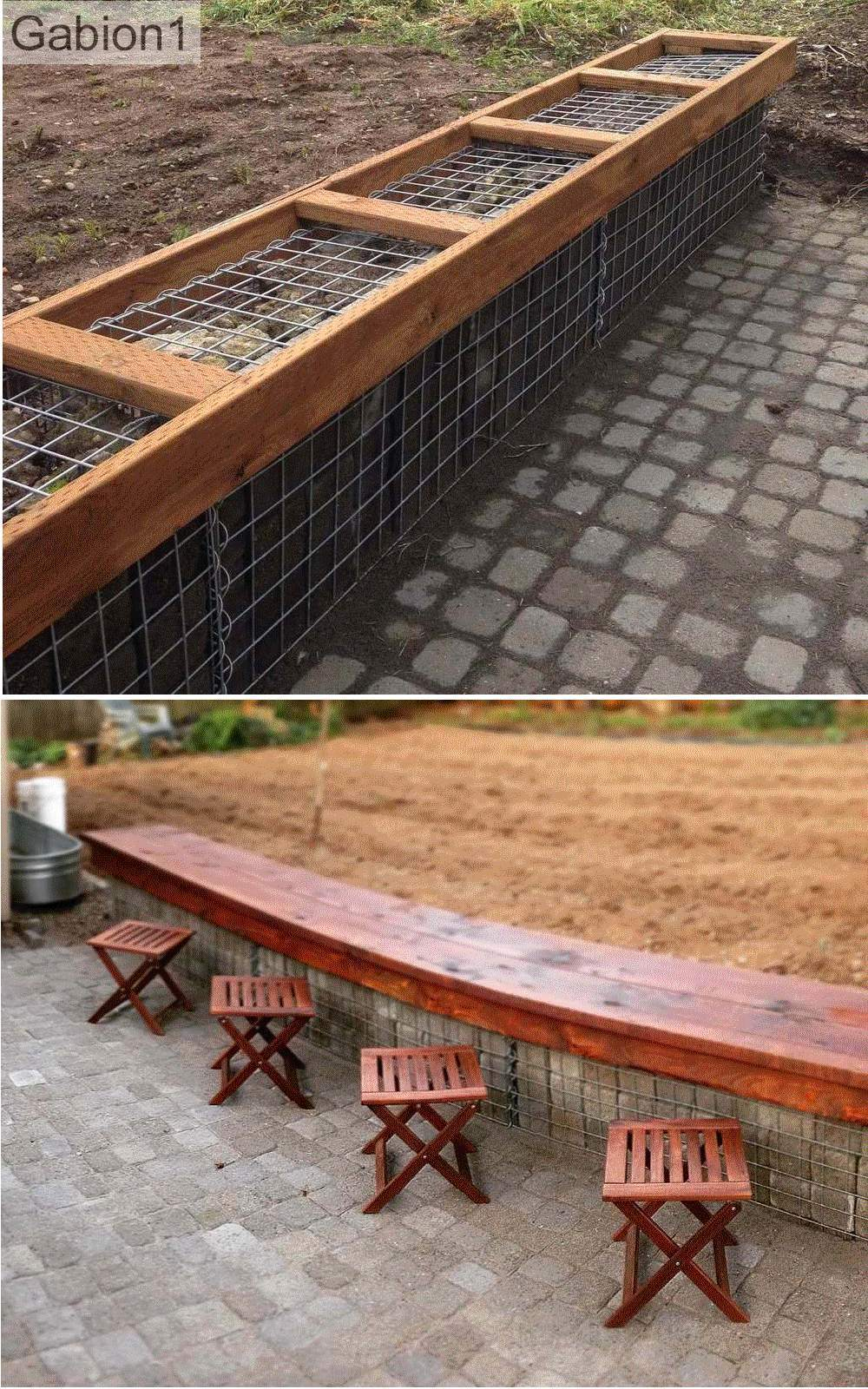 gabion low bench seat
