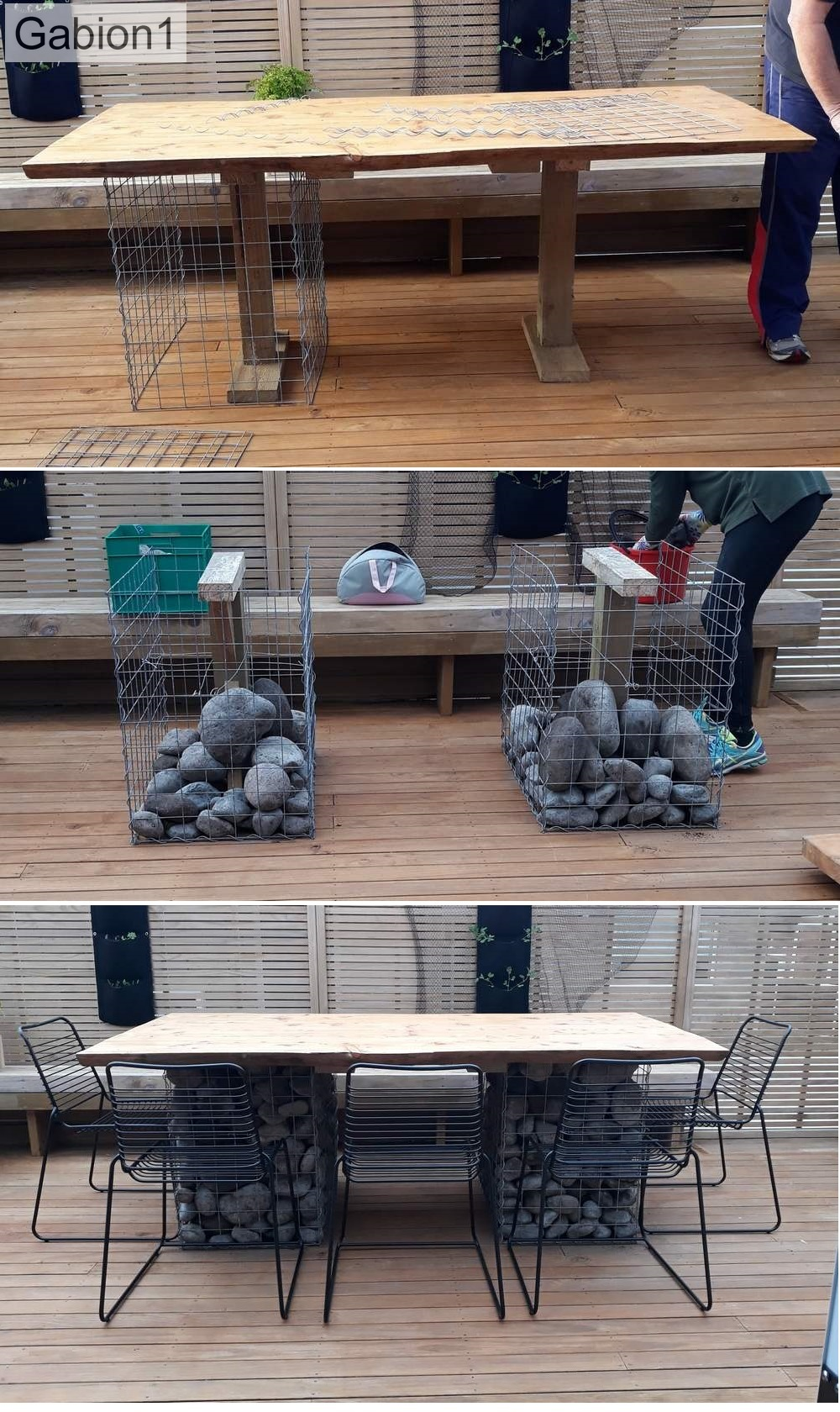 gabion table supports