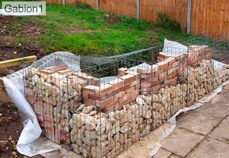 brick rubble filled gabion basket