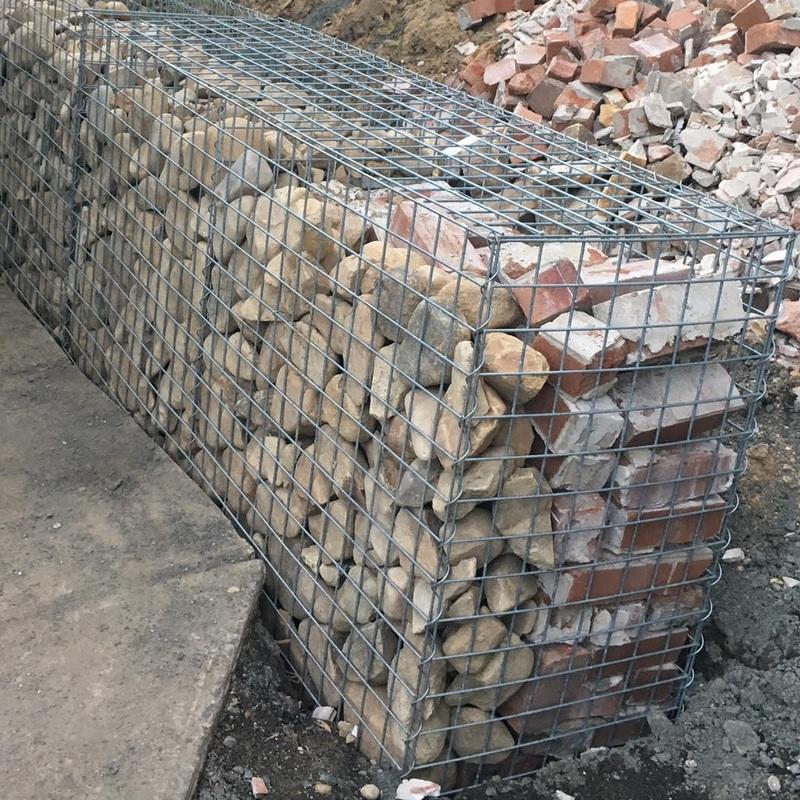 gabion part brick filled
